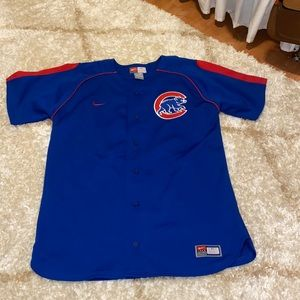 Chicago Cubs button up jersey style top Nike EUC